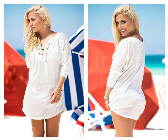 7871 Lace-Up Cover Up and Beach Dress