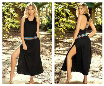 4604 Long Dress Slightly Loose Fit and Elastic Waist