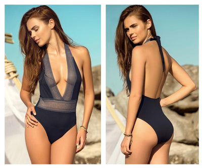 6948 V-Neckline One Piece Swimsuit with Lace Elastic Trim