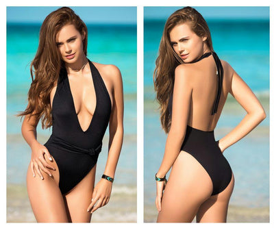 6958 Deep V-Neckline One Piece Swimsuit