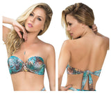 Molded Cup Bikini Top with Removable Straps - Turquoise