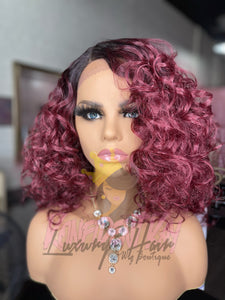 Red Curly Bob Human Blend Wig Unit