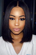 Load image into Gallery viewer, lace frontal 12 bob wig frontal natural hair Ear to ear lace frontal   adjustable straps available in wig  natural looking  *not a 360 frontal side bang sexy hair