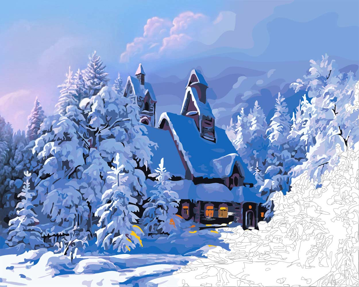 Snow Cabin Winter Landscape Paint By Numbers