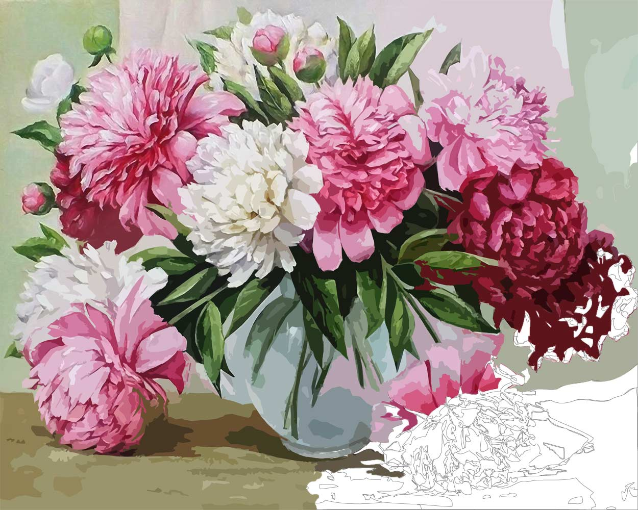 Red And White Peonies Flower Still Life Paint By Numbers Say