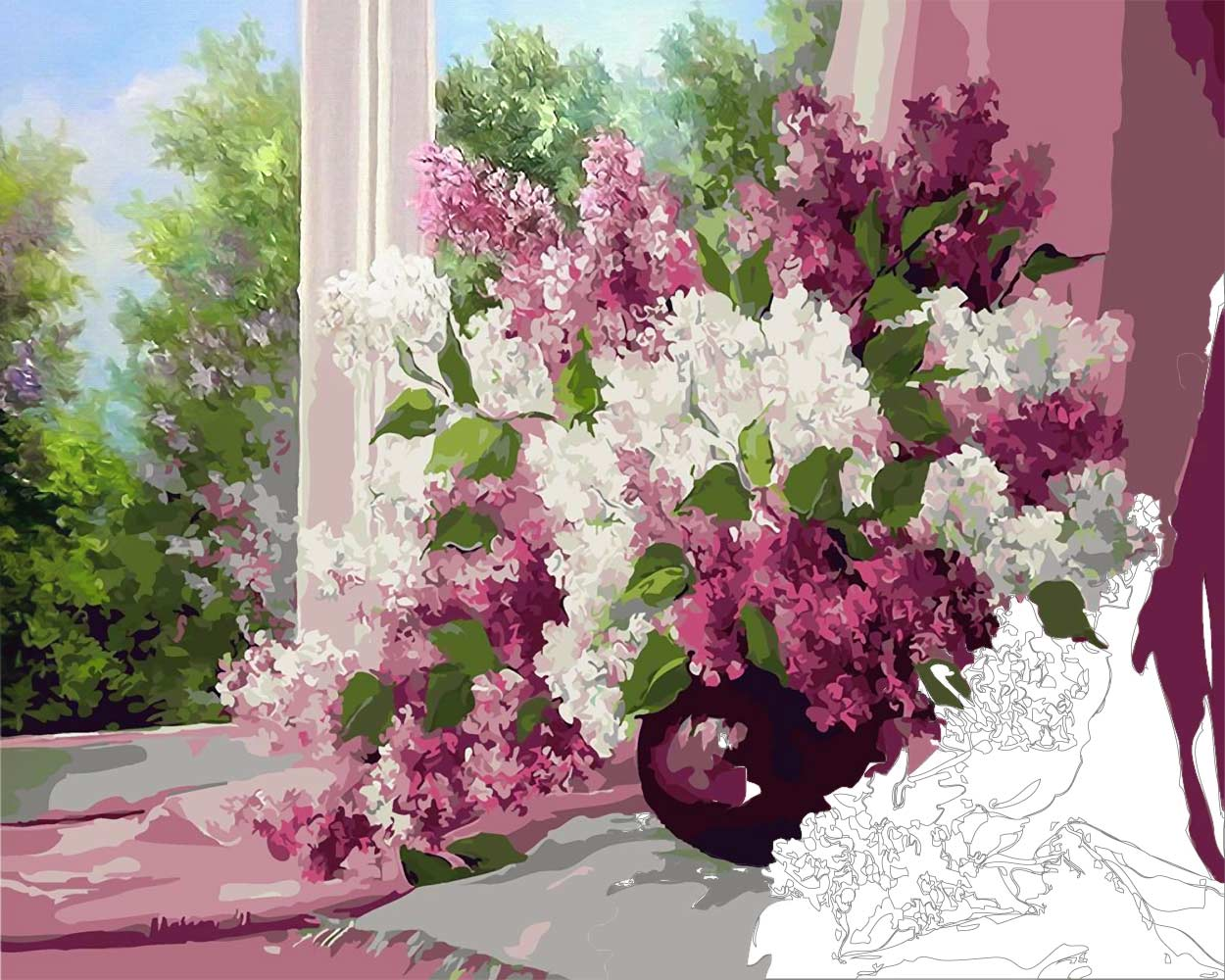 Bouquet of Lilac in a Window — flower still life Paint by numbers ...