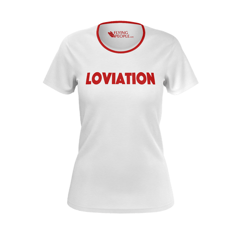 LOVIATION RED NECKLINE WOMEN'S T'SHIRT