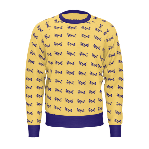 IKARUS PATTERN BLUE ON ORANGE MEN'S SWEATSHIRT 250gsm