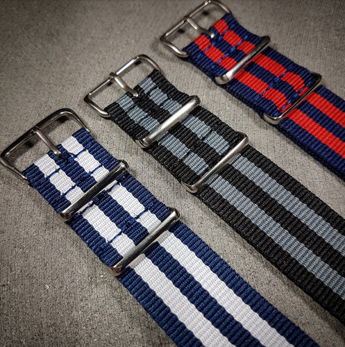22mm NATO 3 Stripe Strap - Various Colours!