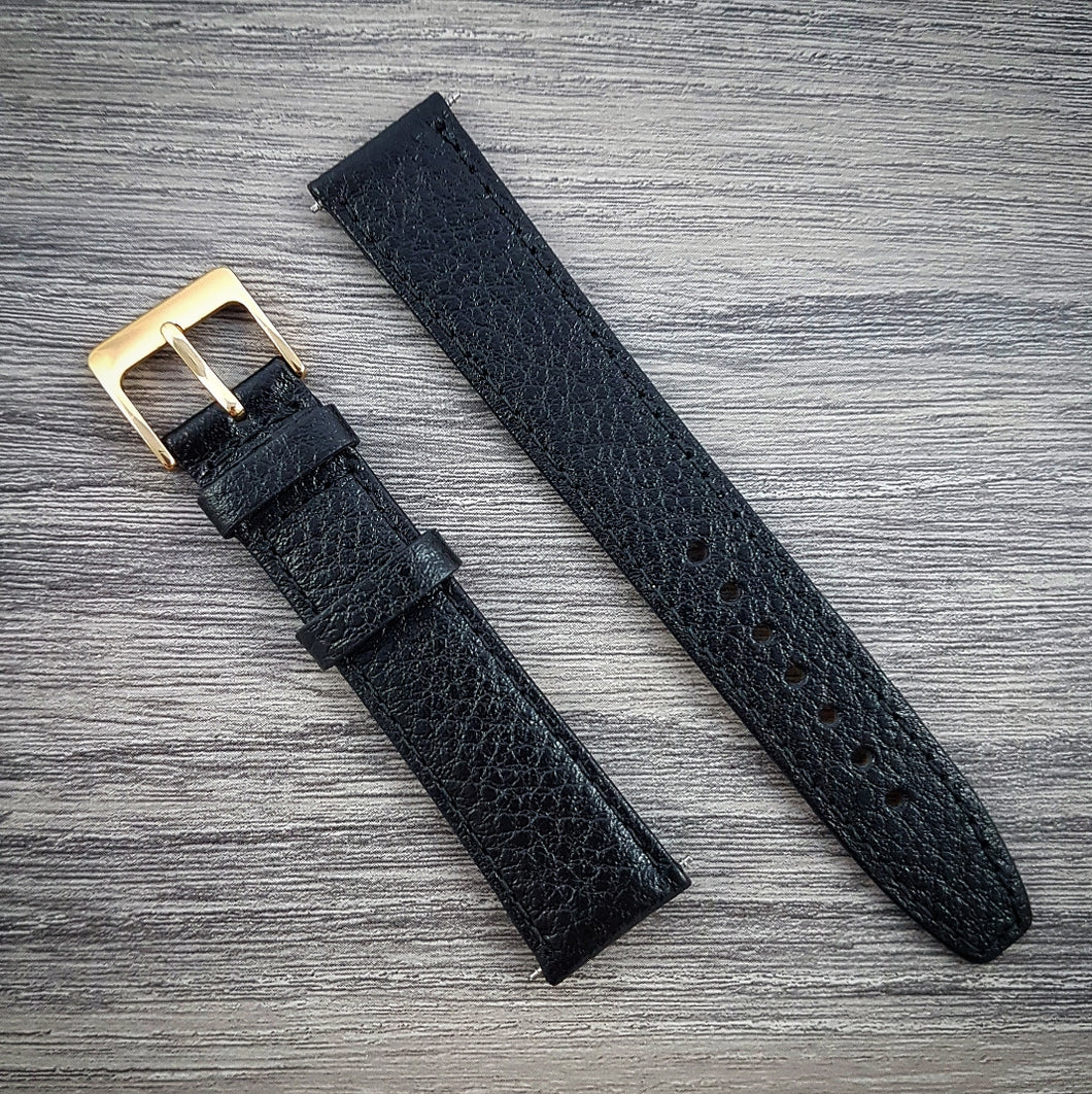 Textured Leather Strap - Black - 16mm/18mm