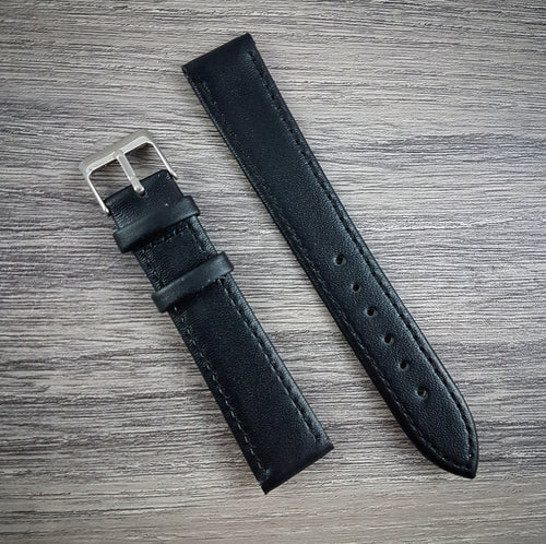 Smooth Leather Strap - Black - 18mm/20mm/22mm