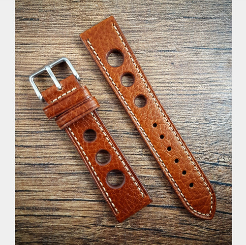 Racing Drivers Leather Strap - Mid Brown - 18mm/20mm