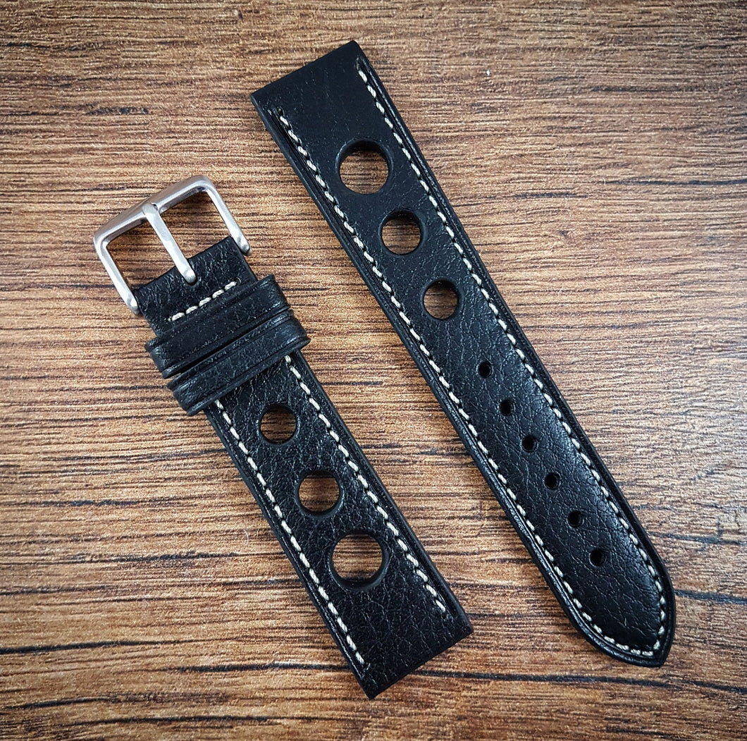 Racing Drivers Leather Strap - Black - 18mm/20mm