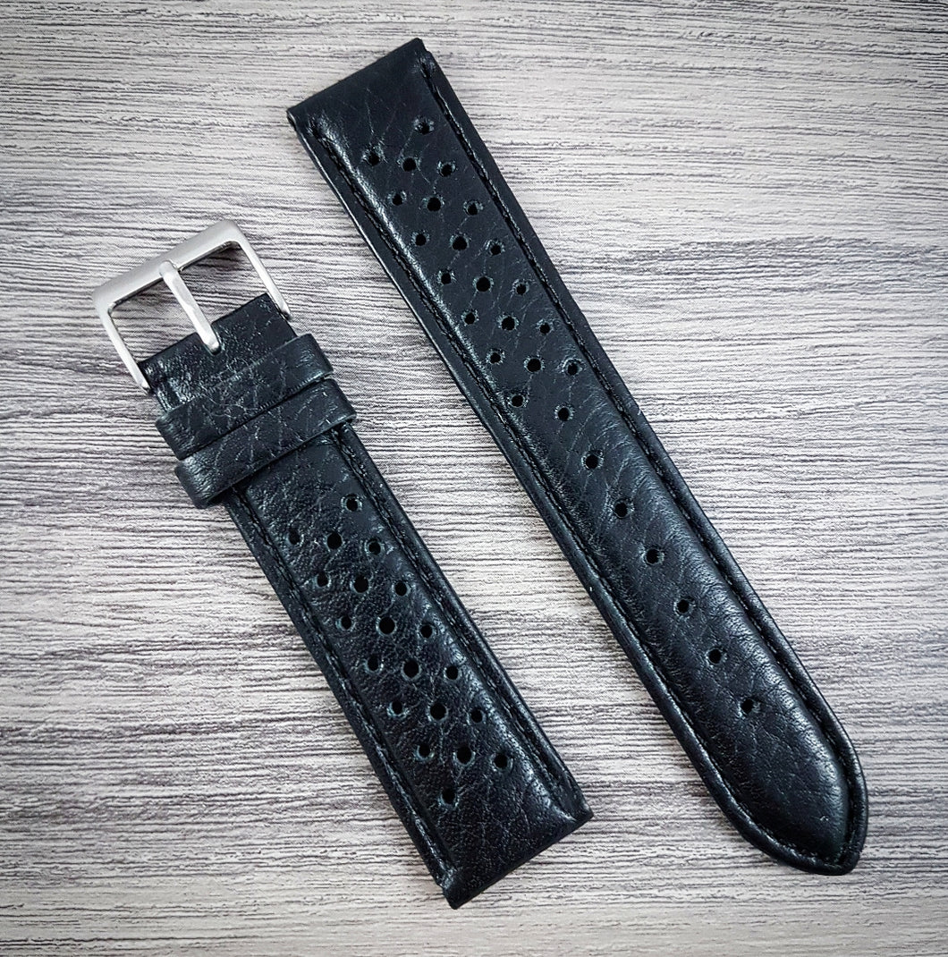 Grand Prix Racing Leather Strap - Black - 18mm/20mm