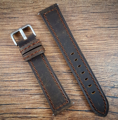 Suede Leather Strap - Dark Brown - 20mm/22mm