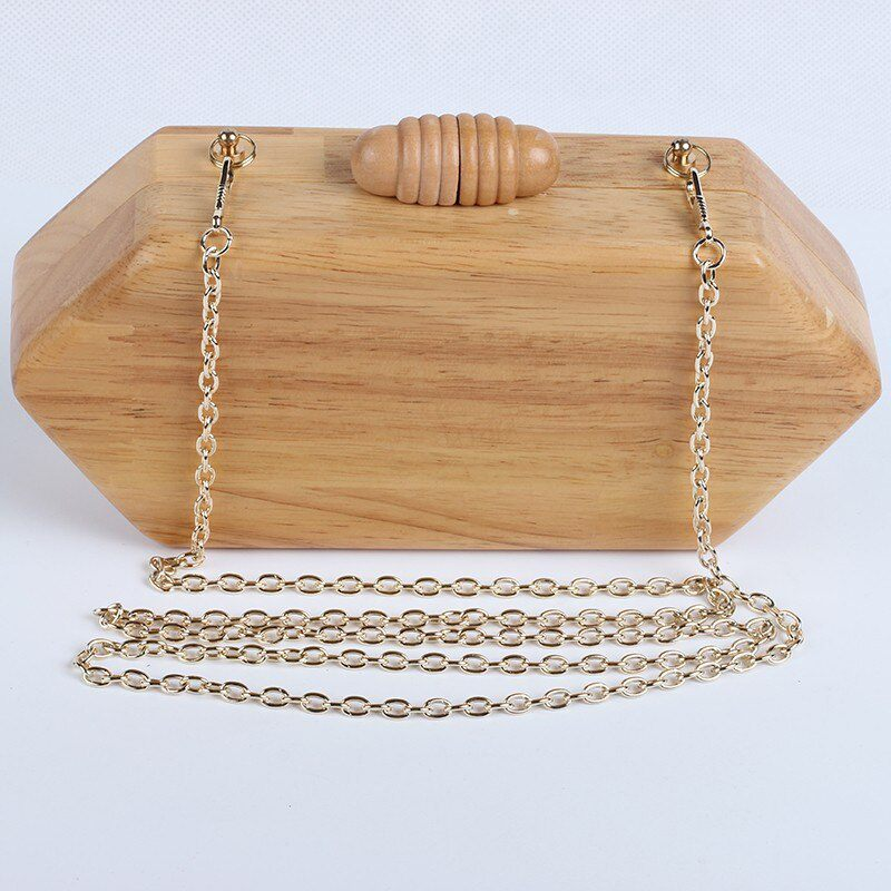 Wooden Box Handbag with Chain Strap