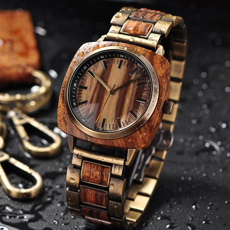 Brown Wooden BOBO BIRD Watch with Square Face
