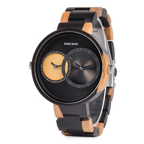 Dual Time Zone Wooden Watch