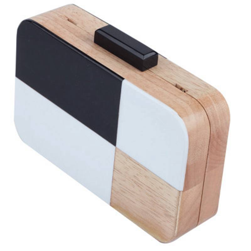 Sleek Black, White, and Wood Handbag