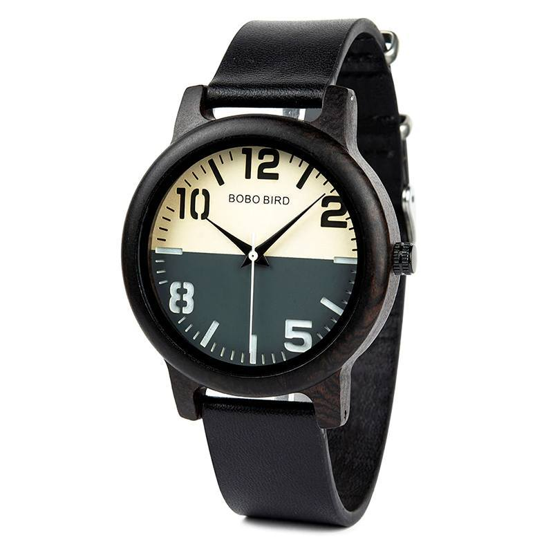 Ebony Wood Two-Toned Watch