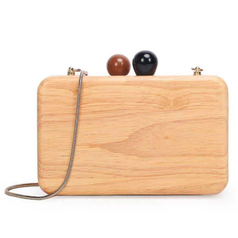 Bamboo Wooden Shoulder Handbag with Chain Strap