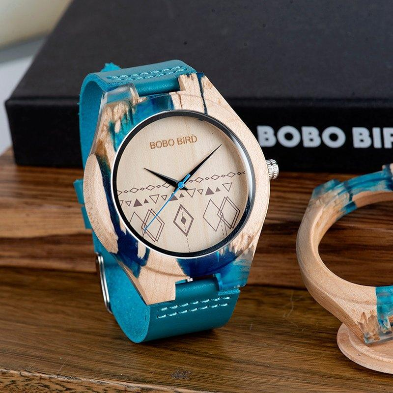 Teal Band Geometric Wooden Watch