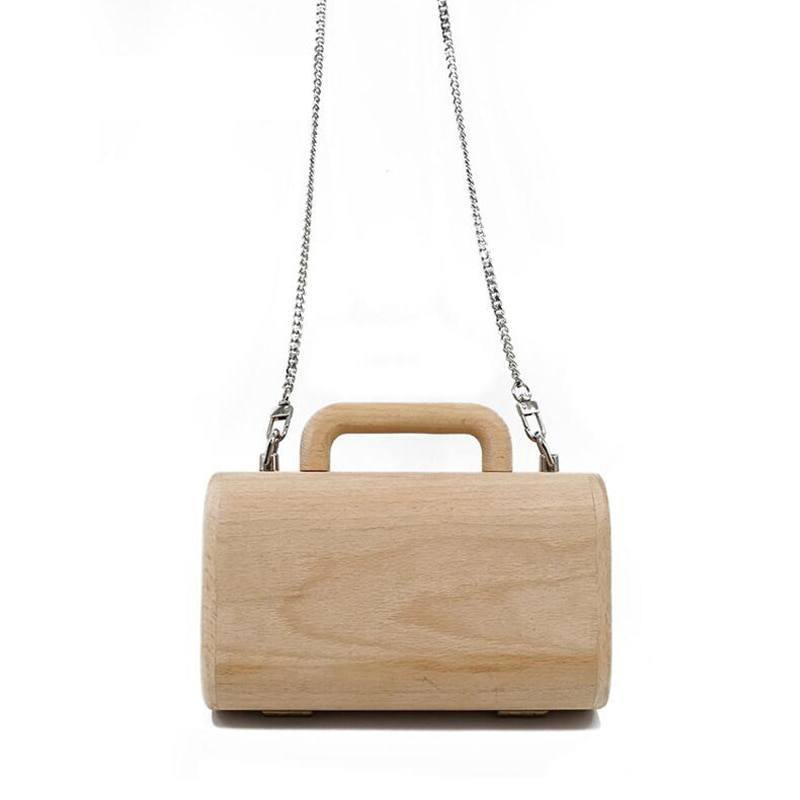 Wooden Briefcase Handbag with Chain Strap