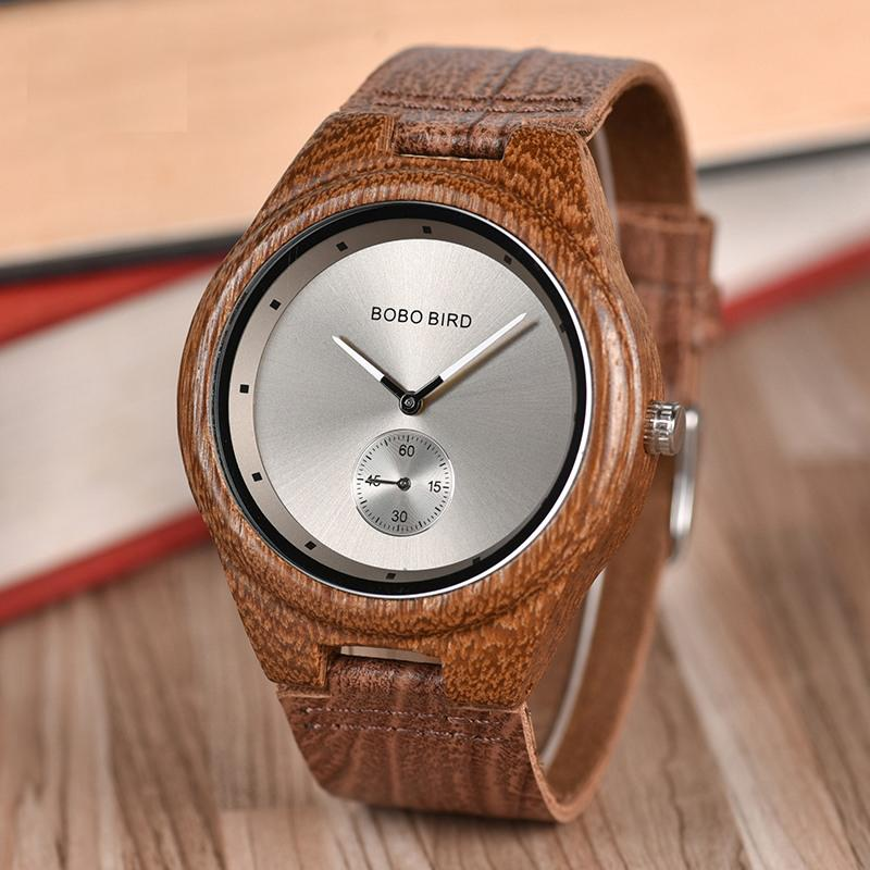 Wooden Watch with Silver Face