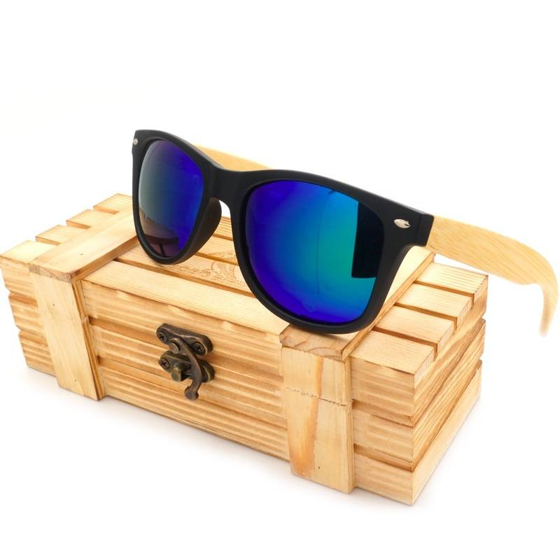Black Retro Polarized Wooden Sunglasses