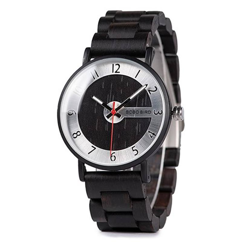 Black and Silver Wooden Watch