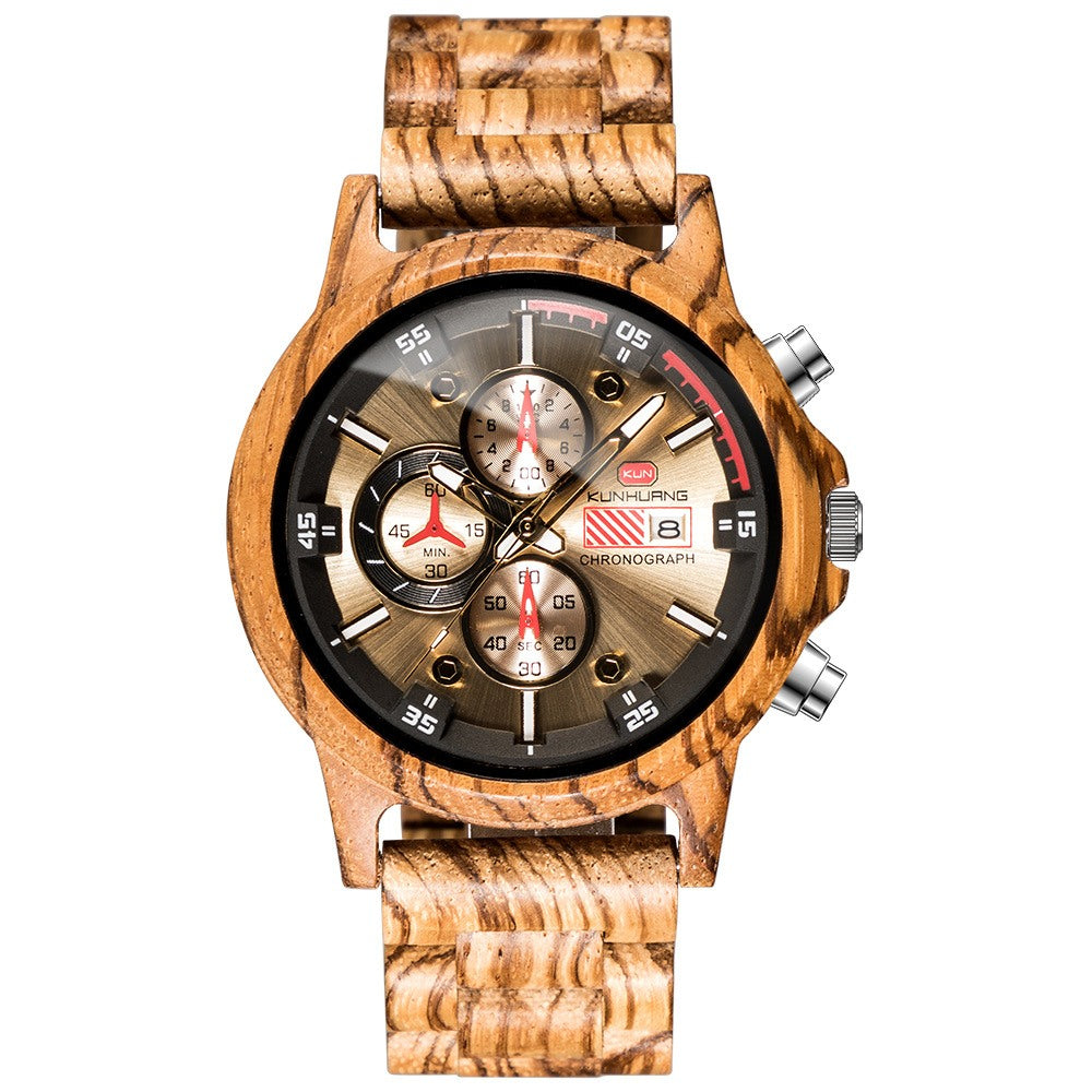 Men's Zebra Wood Chronograph Watch
