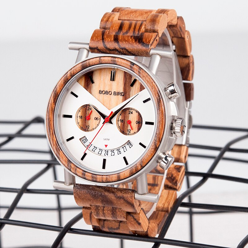 Time Zone Zebra Wood Watch