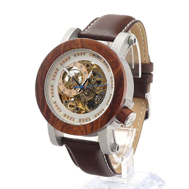 Red Sandalwood & Steel Mechanical Watch