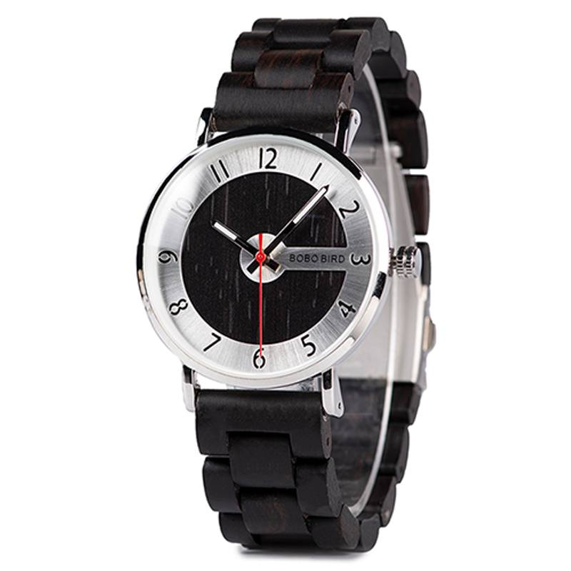 Silver and Black Wooden Watch