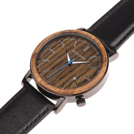 Wooden Calendar Watch with Leather