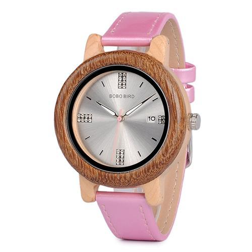 Wooden Watch with Rhinestone Dialface
