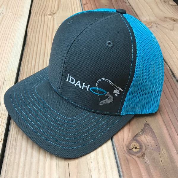 Idaho Ice SnapBack in Charcoal/Neon Blue