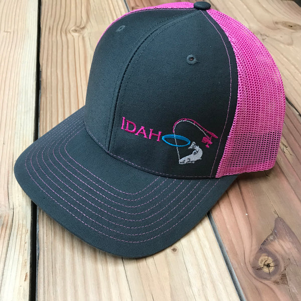 Idaho Ice SnapBack in Charcoal/Neon Pink