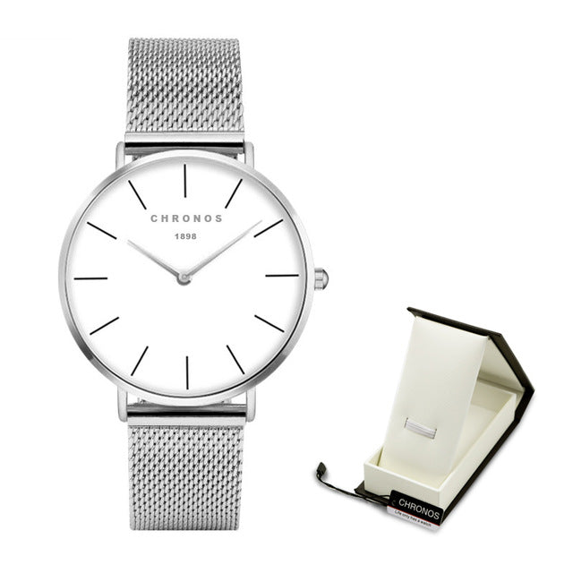 Quartz Wristwatch with leather or mesh strap