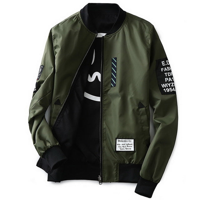 Bomber Jacket Men Pilot with Patches