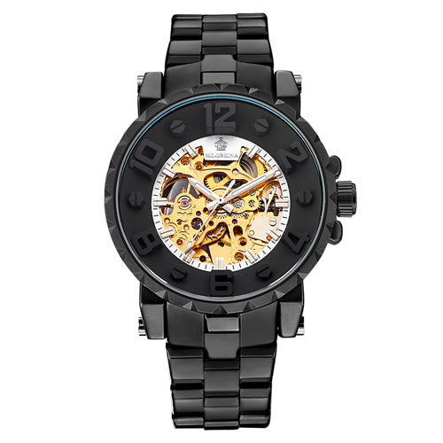Golden Skeleton Clock Mechanical Male Wrist Watch