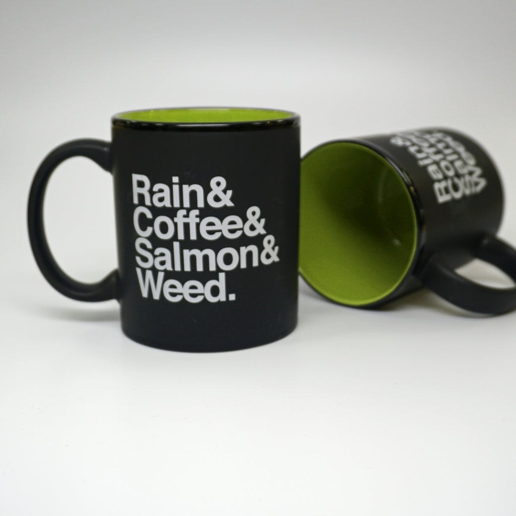 Rain & Coffee & Salmon & Weed Green Mug