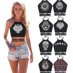 Women s Summer Fashion Sexy  Black  Popular Dreamcatcher Elephant Sun Moon Skull Print Crop Top Bandage Vest Top One Size