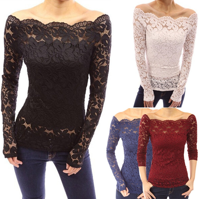 Fashion Women's Lace Crochet Blouses Shirts Long Sleeve Sexy Off Shoulder Tops