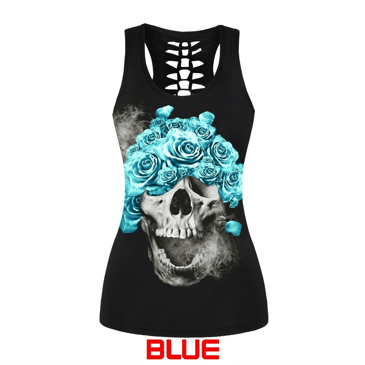 Women's Fashion Cotton Skull Print Hollow Out T-shirt Crew Neck Sleeveless Sexy Tank Top Plus Size