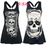 Summer Women's Fashion Skull Printed Sleeveless Cotton Vest Punk Style Tops