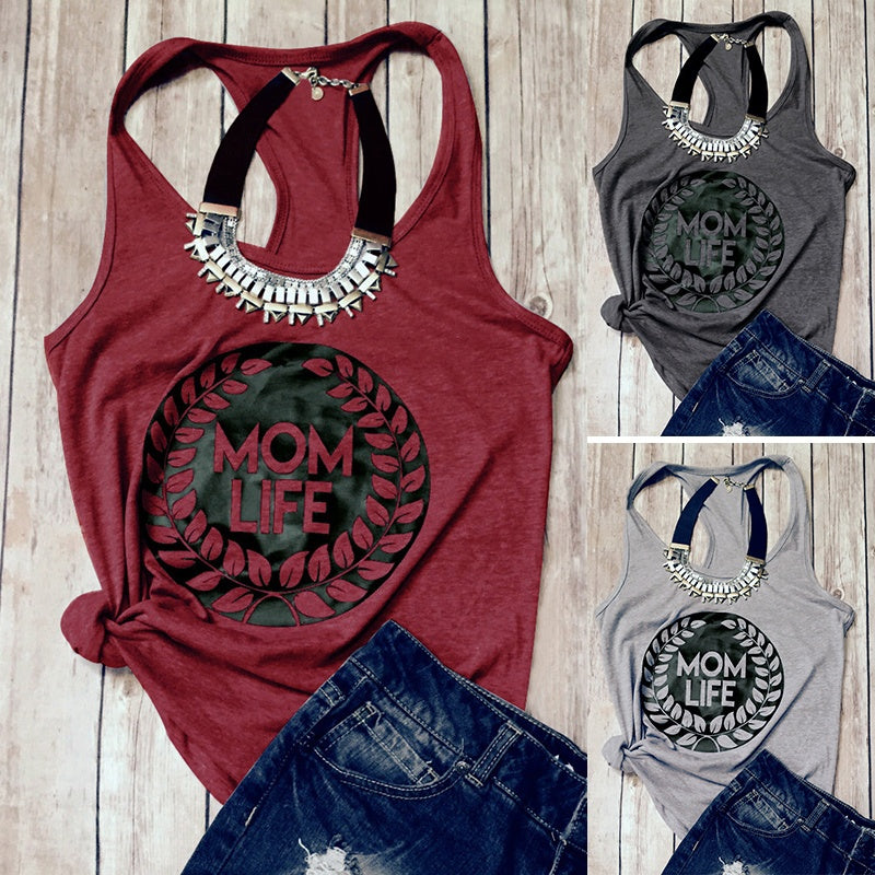 Women Casual MOM LIFE Letter Printing Sleeveless Vest Summer Fashion Slim Cotton T-shirts Tank Tops