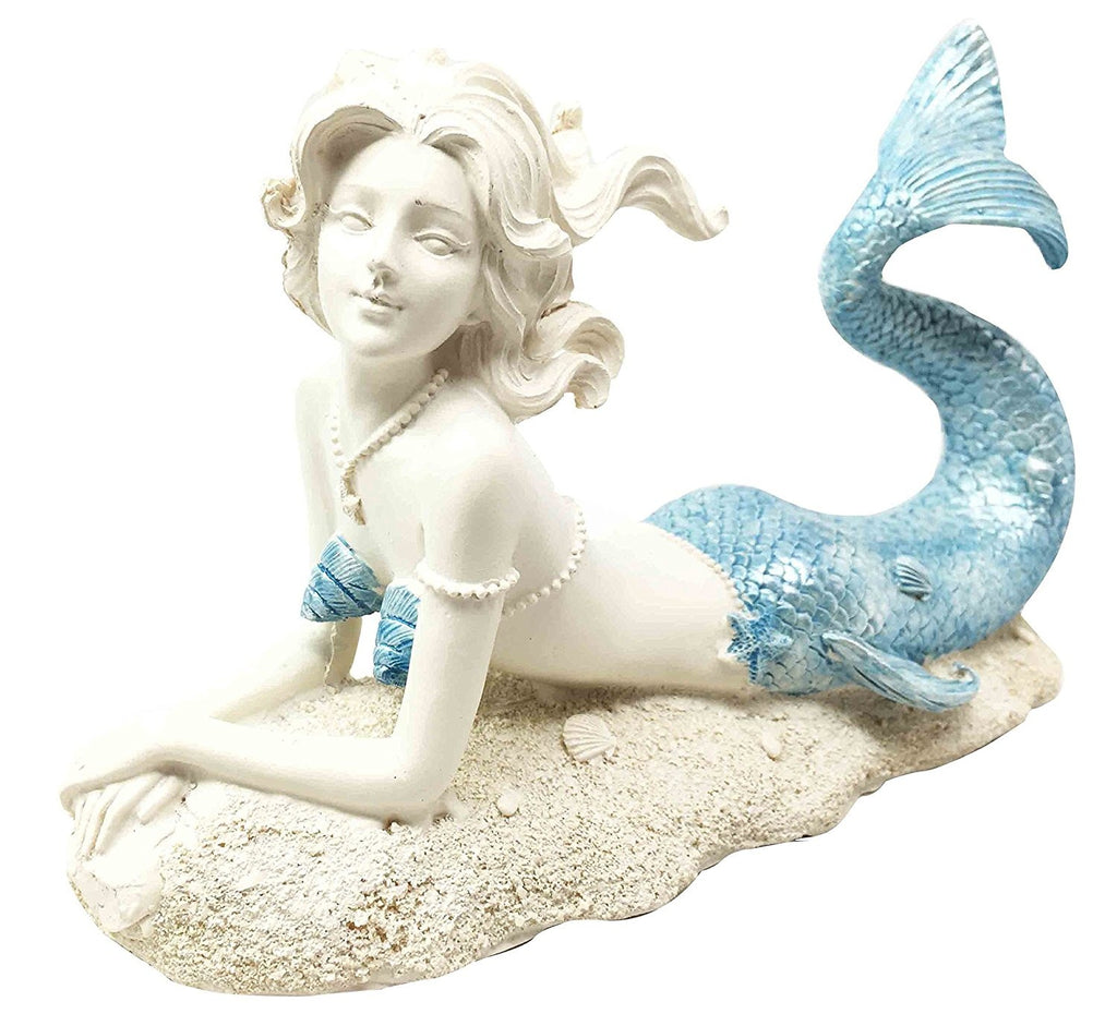 Beautiful Ocean Goddess Celeste Blue Tailed Mermaid Relaxing Figurine Home Decor Nautical