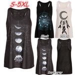 Women's Fashion Sleeveless O-neck Moon Print Tank Top Plus Size Cotton Vest WZG2739