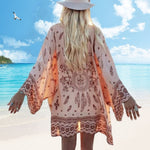 Women Girl Summer Long Sleeve Boho Print Chiffon Shawl Kimono Loose Cardigan Long Scarf Tops Shawl Blouse Beach Cover Best Sale(
